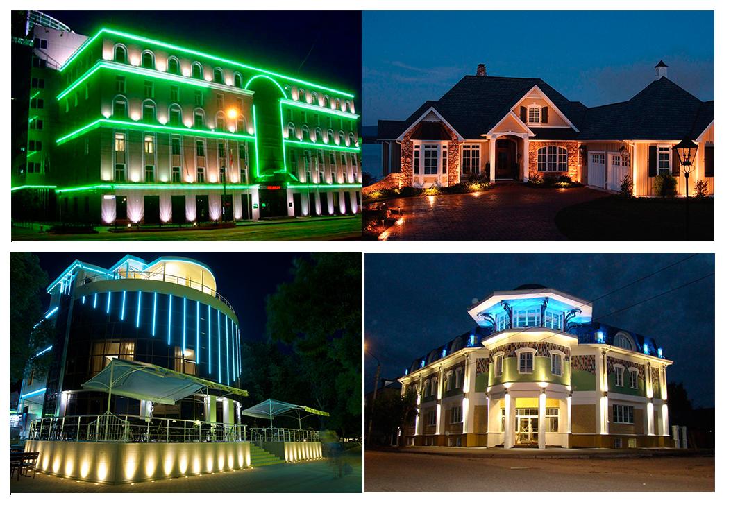 Подсветка фасадов зданий различных форматов