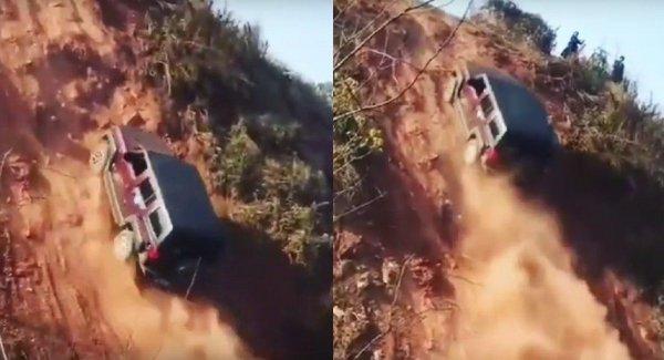 Внедорожник, который смог: Вертикальный подъем Land Rover Defender в гору попал на видео