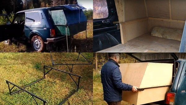 «Удобства во дворе»: Блогер построил бюджетный «автодом» из LADA 4x4