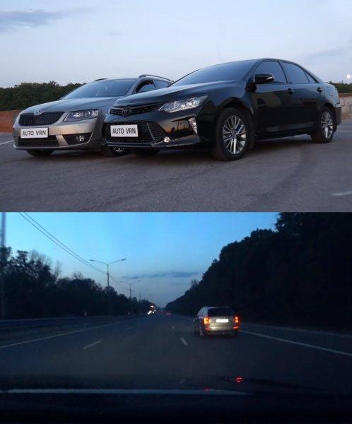 «Ваговская ракета»: Блогер показал гонку полноприводной Skoda Octavia A7 и Toyota Camry XV55